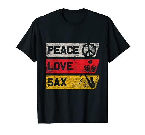 Peace Zeichen Blasmusik Frieden Liebe Saxophon T-Shirt