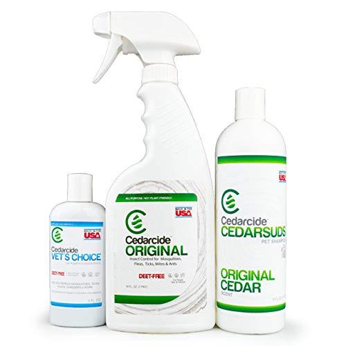 Cedarcide Flea & Tick Pet Pack (Medium) | Cedarcide Original + CedarSuds Pet Shampoo + Vets Choice Flea & Tick Dip | Kills and Repels Mosquitoes, Mites & Fleas