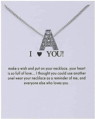 ZHIFUBA Co.,Ltd Collar Mujer Cristal Alfabeto Letras Iniciales Tarjeta Mensaje Colgante Collar Mujeres Collares te Amo joyería Collar Regalo