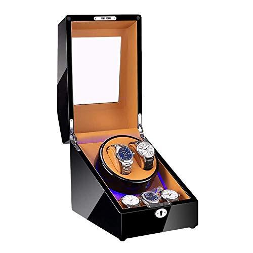 XIUWOUG Caja giratoria automática para relojes de 2 + 3 relojes, acabado con pintura de piano con luz LED azul, suave, motor silencioso (color: C)