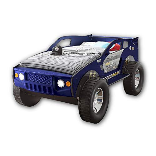 Stella Trading JEEP Autobett mit LED-Beleuchtung 90 x 200 cm - Aufregendes und hohes SUV Auto Kinderbett für kleine Rennfahrer in Blau - 120 x 81 x 211 cm (B/H/T)