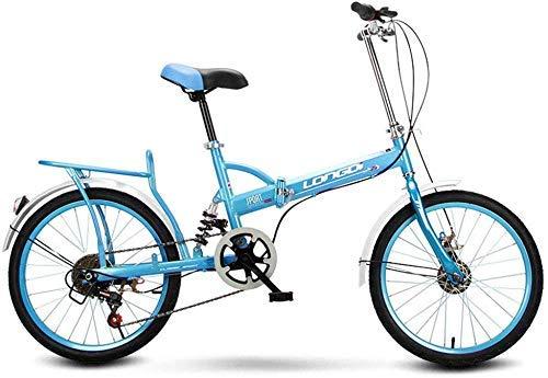 Faltbare Männer und Frauen Faltbare Bike-20 Zoll Erwachsene Männer und Frauen Tragbare Pendler Schicht Fahrrad Geschenk Auto Aktivität Auto Rot (Farbe:Blau)