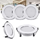 SKSNB Low Profile Ultra-Thin Recessed Ceiling Light with Junction Box, 3000K/4000K/6000K Daylight, LED Wafer Light, Dimmable Downlight, ETL and Energy Star Certified, 4-Pack,3W