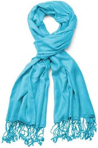 styleBREAKER Stola Schal, Tuch mit Fransen in vielen verschiedenen Farben, Unisex 01012035, Farbe:Babyblau