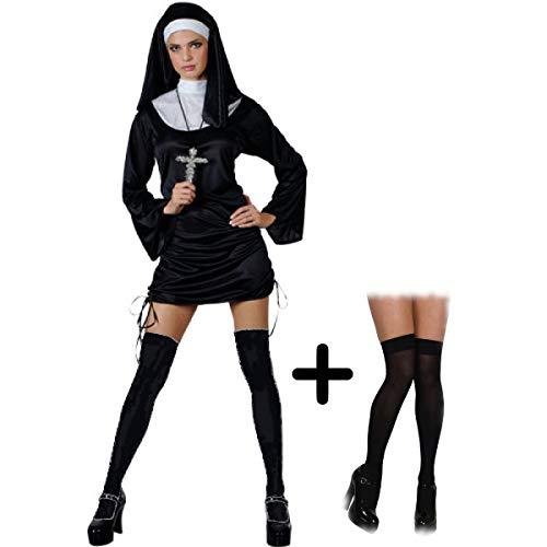 Naughty Nun - Adult Costume Set (Costume, Black Stockings) S (UK: 10-12)