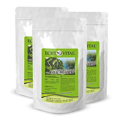 ECHT VITAL Kaliumcitrat Pulver 3 x 500 g (1500 g / 1,5 kg) | Pharmaqualität | vegan | hochdosiert | Potassium Citrate Powder (Kalium) | hergestellt und laborgeprüft in Deutschland