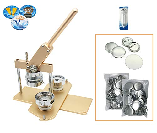 """ChiButtons Kit 58mm (2 1/4"""") Button Maker Badge Press Machine-B400 + 58mm Round Die Moulds + 100 Set Pin Button Components + Adjustable Circle Cutter (Golden-New)"""