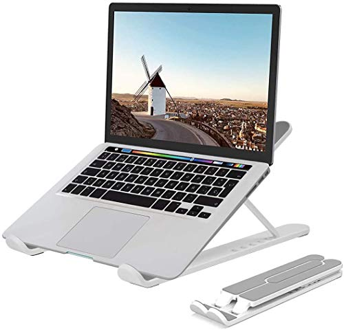 """Laptop Stand, BOUNDEAL Portable Adjustable Laptop Holder, Ergonomic Foldable Aluminum Adjustable Ventilated Notebook Stand for All 10-15.6"""" Laptops, Phone and Book - Silver"""