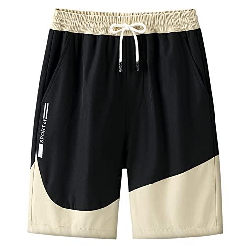 Wilitto Color a juego de los hombres pantalones cortos de la rodilla de longitud fresca recta amplia pierna bolsillos grandes tabla pantalones cortos Streetwear azul 2XL