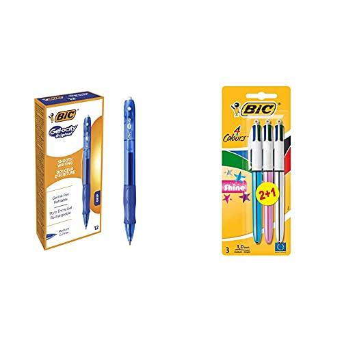 BIC Gel-ocity Original bolígrafos Retráctiles Gel punta media (0,7 mm) Azul, Blíster de 12 unidades + 4 colores Shine Bolígrafo Retráctil punta media (1,0 mm)