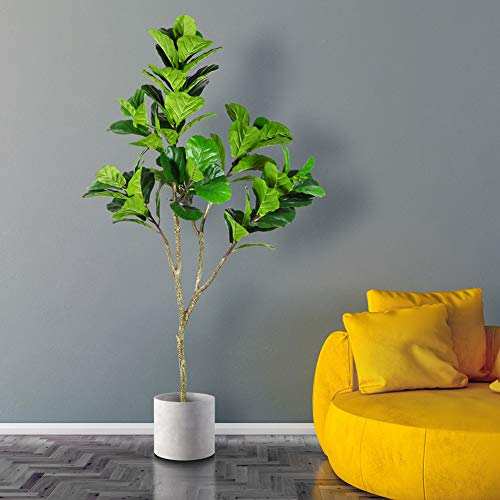 CROSOFMI Artificial Bird of Paradise Plant 5.3Feet Fake Tropical Palm Tree with 10 Large Leaves Faux Plants in Pot for Indoor Outdoor House Home Office Modern Decoration Perfect Housewarming Gift