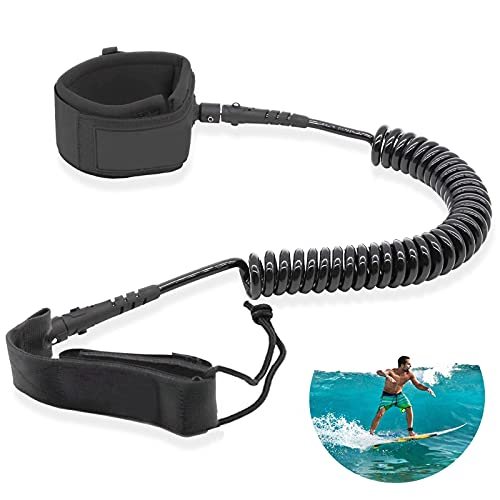 TENGYUE Leash Sup Board, 7mm&10Ft Surfboard Leash, TPU Paddle Leash mit Fußschlaufe, sup Leine für Stand Up Paddle Board Surfboard