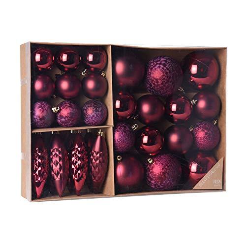 Multistore 2002 - Set di 31 palle di Natale Ø 8/6/5 cm, colore: Bordeaux