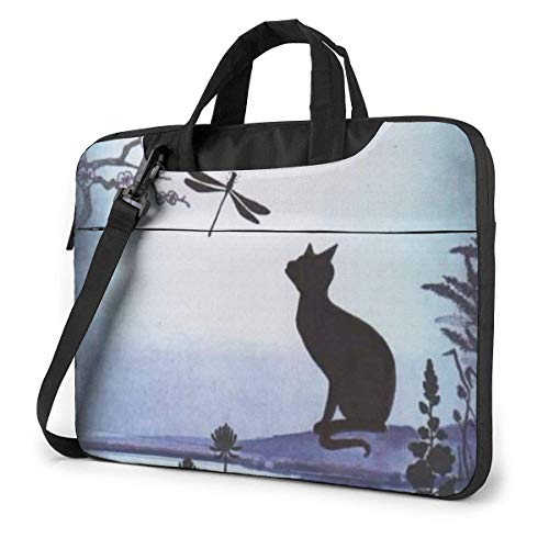 Zwarte kat Sakura Vlinder Laptop Schoudertas 15.6 inch Laptop Messenger Case Laptop Sleeve Draagtas met riem