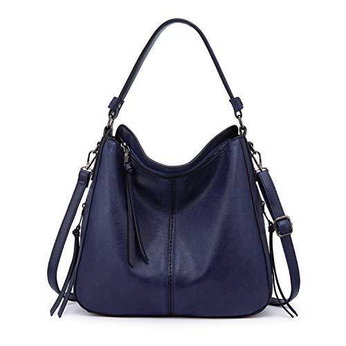 Realer Handtasche Damen Shopper Tasche Tote Leder Umhängetasche Groß Schultertasche Frau Elegant Henkeltasche mit Quasten Abnehmbar Schulterriemen Blau