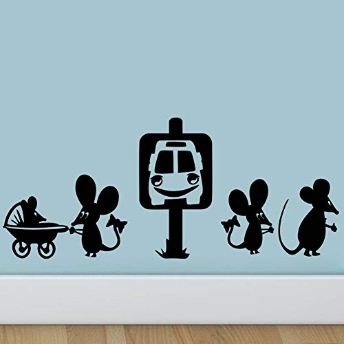 WLYUE Wall Sticker Decal, Mouse take the taxi wall sticker Cartoon Funny hole wall decals rat bedroom living room mice wallpaper