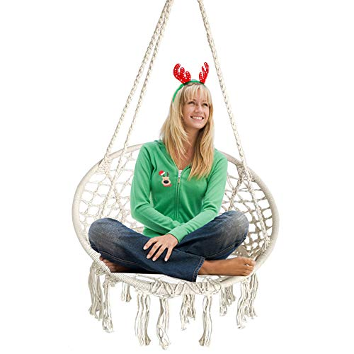 BHORMS Hanging Hammock Chair Macrame Swing White for Indoor Bedroom Outdoor Patio Porch Deck Garden...