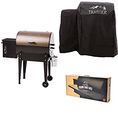 Traeger TFB29LZA Grills Junior Elite Wood Pellet Grill and Smoker (Bronze), with Full Length Grill Cover and Folding Front Shelf