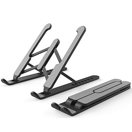 Adjustable Folding Laptop Stand Non-Slip Holder Cooling Stand Riser (Black)