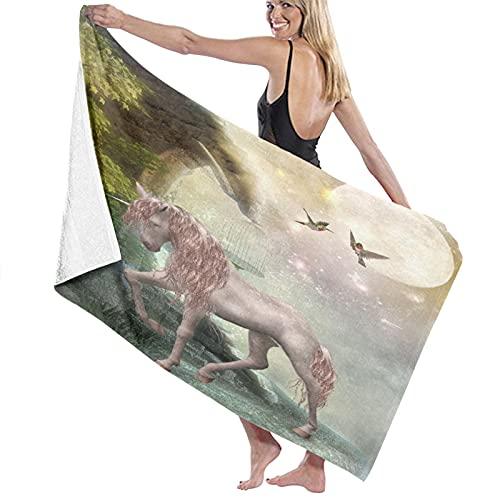 SUHETI Toallas de baño,de playa,Colibríes Último unicornio Hojas doradas Aves Estrellas centelleantes Luna Fantasía mística Cuento de hadas ativo, Molto assorbente e morbido, adatto per yoga e fitness