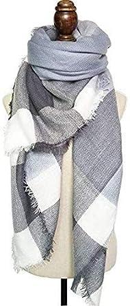 Winter Warm Scarfs Women Shawl Scarf Ladies Plaid Blanket Tartan Scarf Color Block Style with Tassel 140 140cm