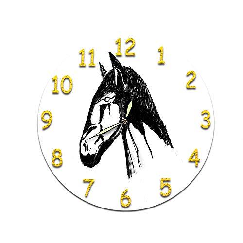 Reloj Silencioso Numerales arábigos Cabeza de Caballo Adecuado para Decorar Sala, Dormitorio, Oficina - Alimentado por Batería