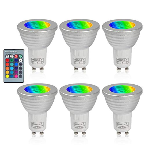 MENGS 6 Stück 3W RGB LED Reflektorlampe GU10 LED Farbige Licht Leuchtmit RGB LED Leuchtmittel Dimmbar mit Fernbedienung, ersetzt 20W, 60° Abstrahlwinkel 180lm für Ambiente Party Deko