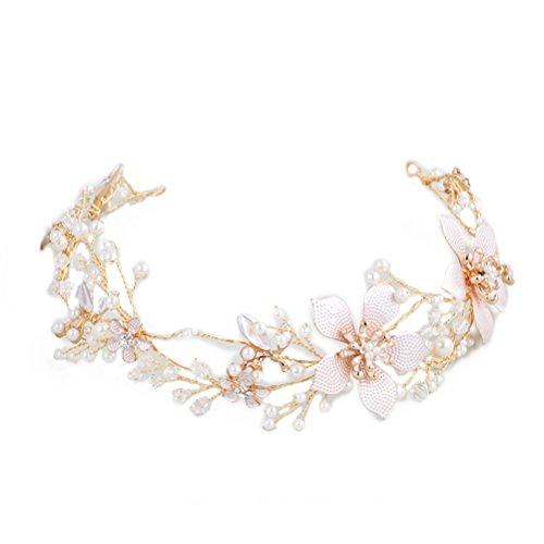 frcolor Strass cristal perla Floral Boda Novia frente Tiara Diadema joyas