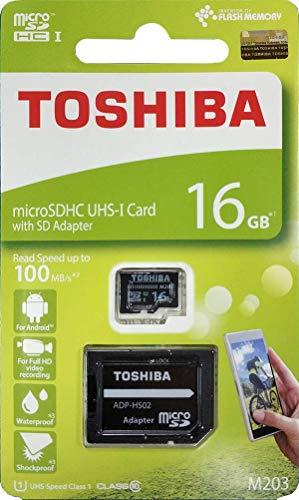 Toshiba 16GB Micro SDメモリーカード M203 SDHC UHS1 U1 Class10 SDアダプター付き