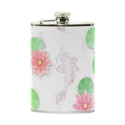 TIZORAX, carpa koi y flores papel de loto, frasco de acero inoxidable,  petaca de bolsillo, vasija de vino para camping,  regalo para hombre y mujer, 0,236 litros.