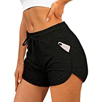 Aloodor Womens Athletic Shorts Running Dolphin Shorts with Pockets and Drawstring