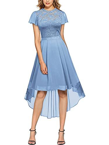 MIUSOL Damen Vintage Spitzen Cocktail Abendkleid Party Kleider Hellblau Gr.S