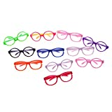 1Pc Round Frame Eyewear for 18 Inch American Girl Doll Toy Miniature Eyeglasses Mini Colorful Doll Glasses Stylish Plastic Doll Eyeglass Doll Accessories(Color:Random)