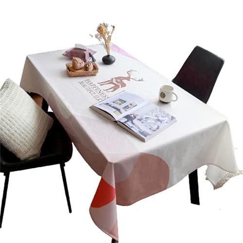 CCBAO Mantel Rectangular Antiincrustante De Poliéster-Mantel Cuadrado-Patrón De Cervatillo-Mesa De Comedor De Cocina-Decoración De Sala De Estar-Mesa De Café-Hotel Jardín Exterior 140x240cm