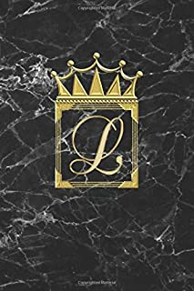 L: Personalised Journal Notepad (Blank Lined) Diary / Letter L Notebook / Black And Gold Marble Design With Crown / Initia...