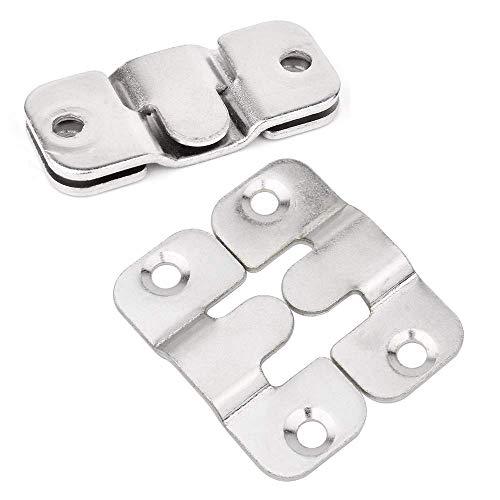 TONGXU 5 Pares Colgadores para Cuadros de Acero Inoxidable Enclavamiento Muebles Conector Soporte Heavy Duty Ganchos para Colgar Cuadros y Marcos de Fotos para Oficina Familia