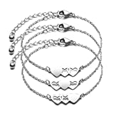 JINGMARUO 3 Sisters Bracelets Best Friends Necklace for 3 Set of 3 Heart Bracelets 3 BFF 3 Bestie Long Distance Friendship Gift (3 Bracelets-S)