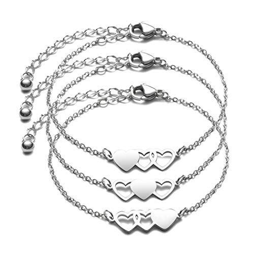 JINGMARUO 3 Sisters Bracelets Best Friends Necklace for 3 Set of 3 Heart Bracelets 3 BFF 3 Bestie Long Distance Friendship Gift (3 Bracelets-S)