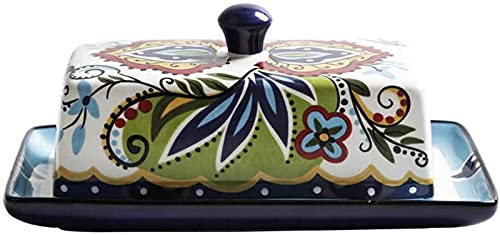 Plato de Mantequilla de cerámica con Tapa, Dibujado a mano