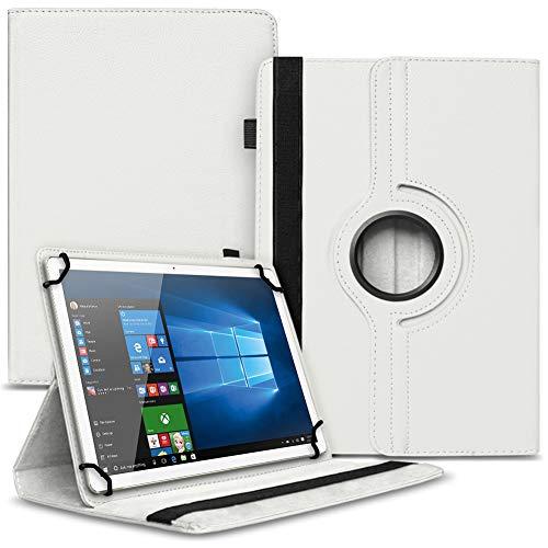 UC-Express Robuste Universal Tablet Schutzhülle kompatibel für Xiaomi Mi Pad 4/3 / 2 hochwertiges Kunstleder Hülle Tasche Standfunktion 360° Drehbar, Farben:Weiß