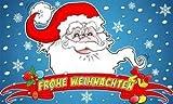 Weihnachtsmann mit Banner Schrift ' Frohe Weihnachten ' Modell 2013 Fahne Flagge Grösse 1,50x0,90m