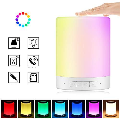 Lámpara de altavoz Bluetooth, sensor táctil inteligente Lámpara de noche con cambio de color Lámpara de noche Luz de camping con gancho Lámpara de mesa LED regulable para dormitorio, sala de estar