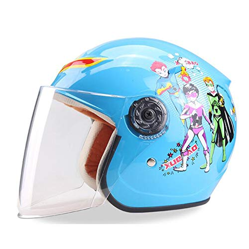 Buy Bargain Shfmx Children's Helmet, Electric Helmet Motorcycle Child Helmet Cartoon boy Girl Half Helmet Child Lightweight Bicycle Helmet Summer Sunscreen Four Seasons Universal,Blue