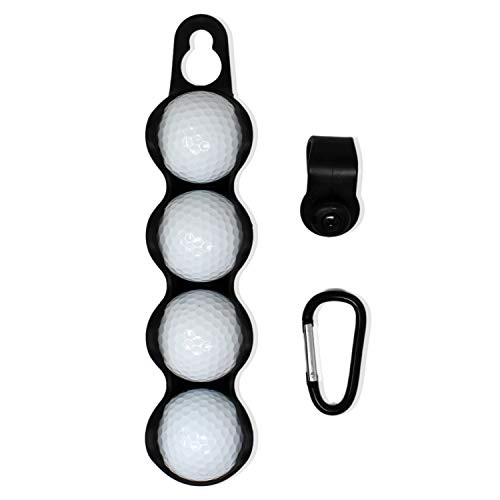 RE Goods Golf Ball Holder | Golf Accessories - Holds 4 Balls | Includes Carabiner and Clip Attachment | Attach to Cart or Bag | Great Golfer Gifts for Men and Women (Golf Balls Not Included)