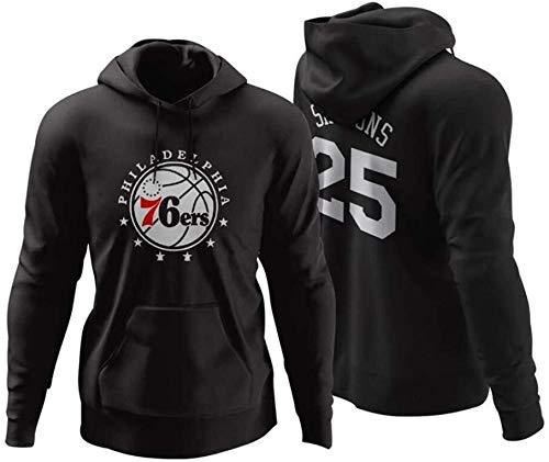 ZSPSHOP Sudadera con capucha de baloncesto de la NBA, Portland Trail Blazers Lillard Plus de terciopelo para otoño e invierno (color: negro 25, tamaño: XXL)