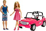 Barbie - Muñeco Ken y muñeca Barbie con su coche de playa, coche muñeca (Mattel CJD12)