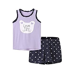 MyFav Big Girls Sleeveless Sleepwear Lovely Cartoon Cat Hearts Shape Pajama Sets