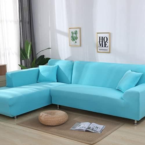 FENFANGAN Fundas para Sofa Chaise Longue, Sofás de Esquina para el Protector Sofa de la Sala de Estar, Elasticidad de poliéster Cubre Sofa con Todo Incluido (Light Blue,3-Seater 190-230cm)