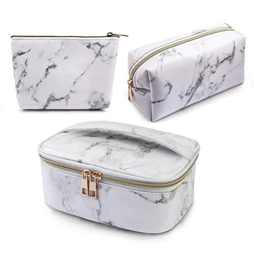 Weesey 3 Paket Marmor Make-up Tasche Kulturbeutel Reisetasche Tragbare Kosmetiktasche Make-up Pinsel Tasche wasserdichte Organizer Tasche für Frauen Mädchen