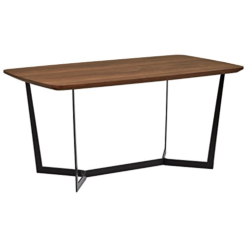 Amazon Brand -Rivet Industrial Pedestal Dining Table, Seats 2-4, 160 x 90 x 75cm, MDF with Walnut Veneer, Black Powder Coated Metal
